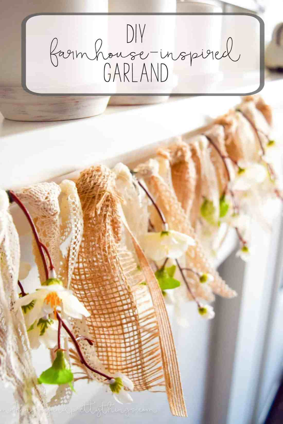 DIY farmhouse-inspired lace + burlap + peach blossom garland.  Easy DIY craft to bring farmhouse style and fixer upper style to your home decor!
