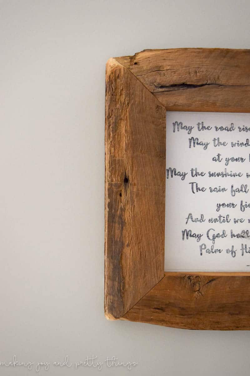 DIY Irish Blessing Framed Sign - easy DIY to add fixer upper and farmhouse style to your home.