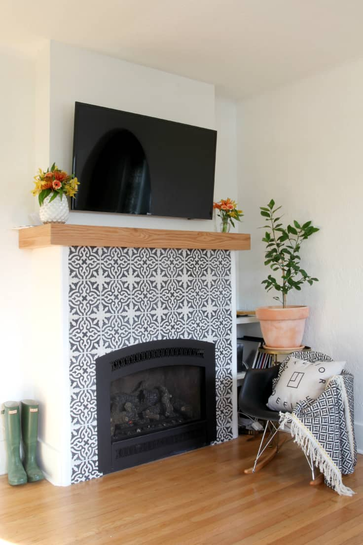 tile adventure wood our broaden before strengthen diy renovation to cement stove view an a and after cabin broader reveal family journey on nest fireplace