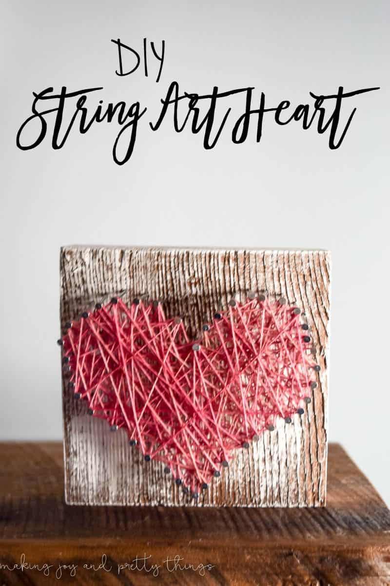 beautiful rustic barn wood string art heart