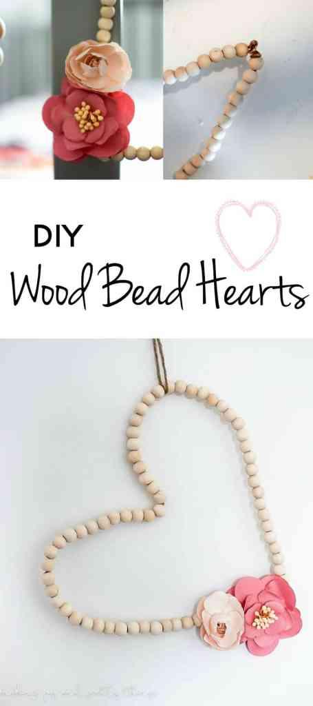 diy wood bead hearts | diy ideas | farmhouse decor | diy farmhouse