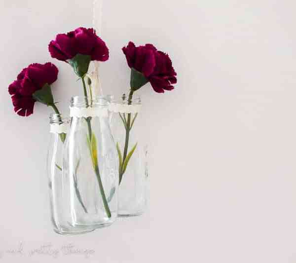 DIY Hanging Milk Jars