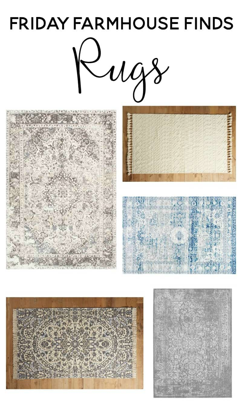 Friday Farmhouse Finds - Focusing on vintage washed rugs and farmhouse style rugs that are budget friendly!