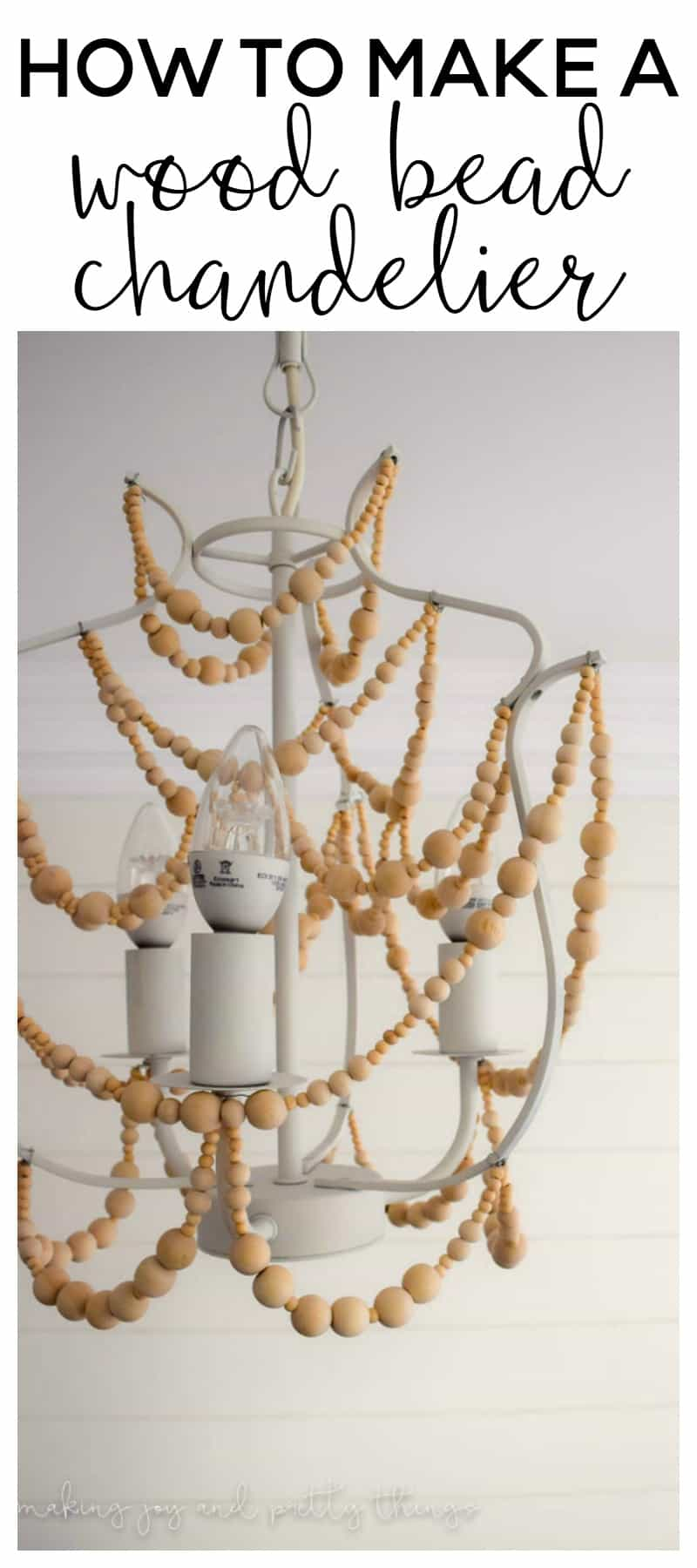 Easy DIY to make a wood bead chandelier! The perfect DIY craft to add farmhouse style to your home.