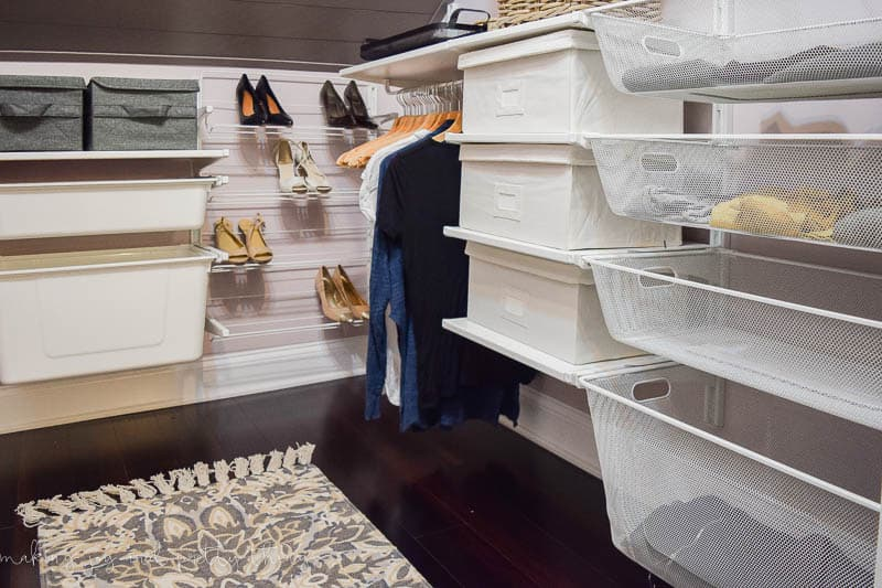 Farmhouse industrial master bedroom closet renovation for the One Room Challenge. Budget friendly, stylish and completely functional!