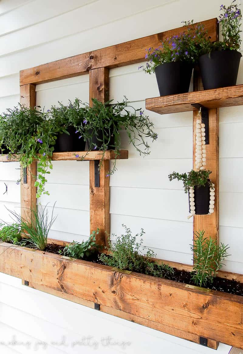 vertical wall planter | vertical garden | vertical gardening | herb garden | vertical herb garden | diy herb garden | diy vertical garden | diy planters | small space living | small space gardening | wall planter | outdoor patio ideas | balcony garden | apartment garden | hanging wall planters | outdoor wall planter hanging herb garden