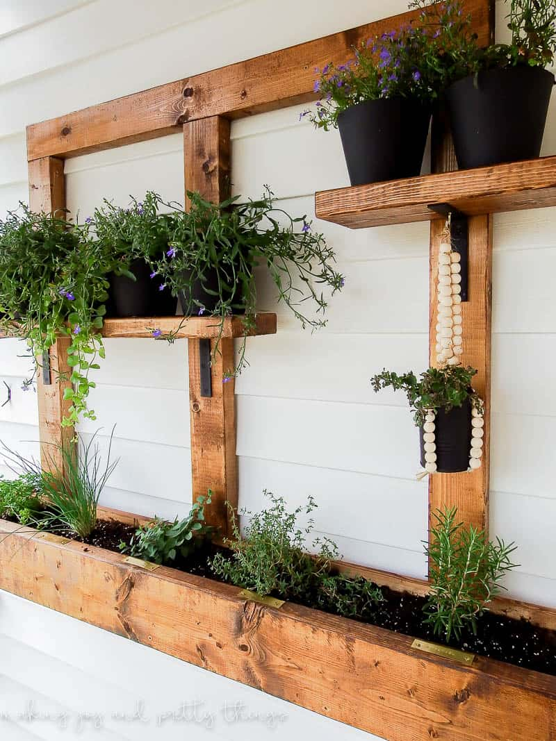 Diy vertical herb garden and planter 2x4 challenge Herb garden wall ideas