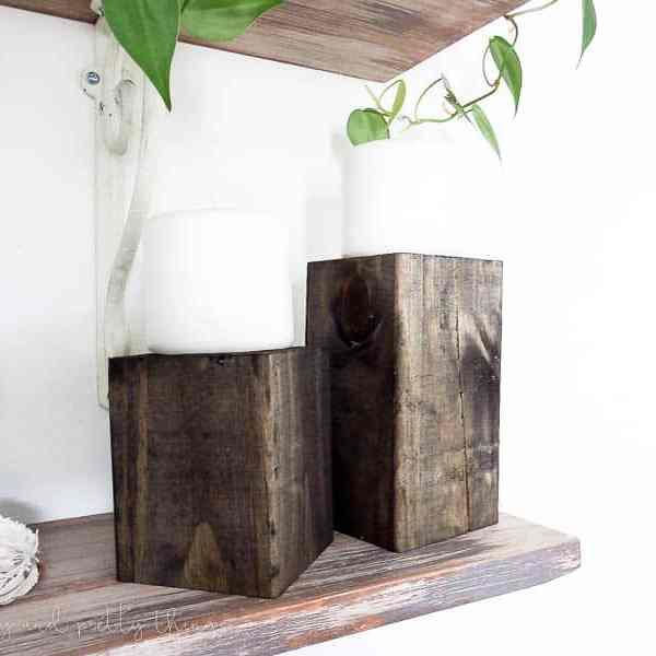 DIY Wood Block Candle Holders