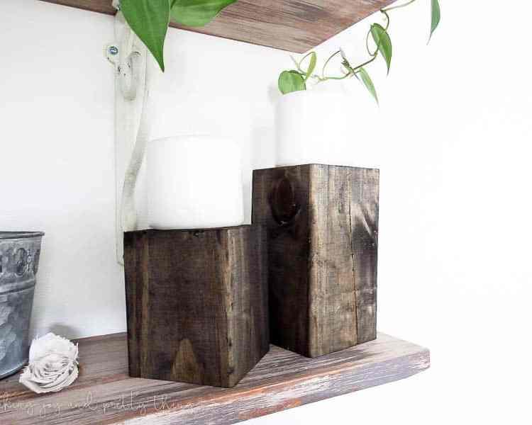 diy home decor | diy crafts | candle holders | diy room decor | candle holders diy | candle holder ideas | wood block candle holders | farmhouse style | farmhouse decor | open shelves | open shelving