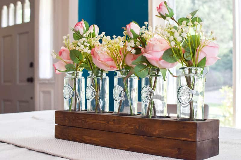 Simple 5 Bottle Wooden Farmhouse Style Centerpiece