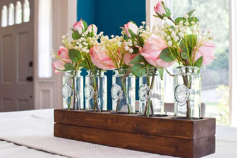 Simple 5 Bottle Wooden Farmhouse Style Centerpiece