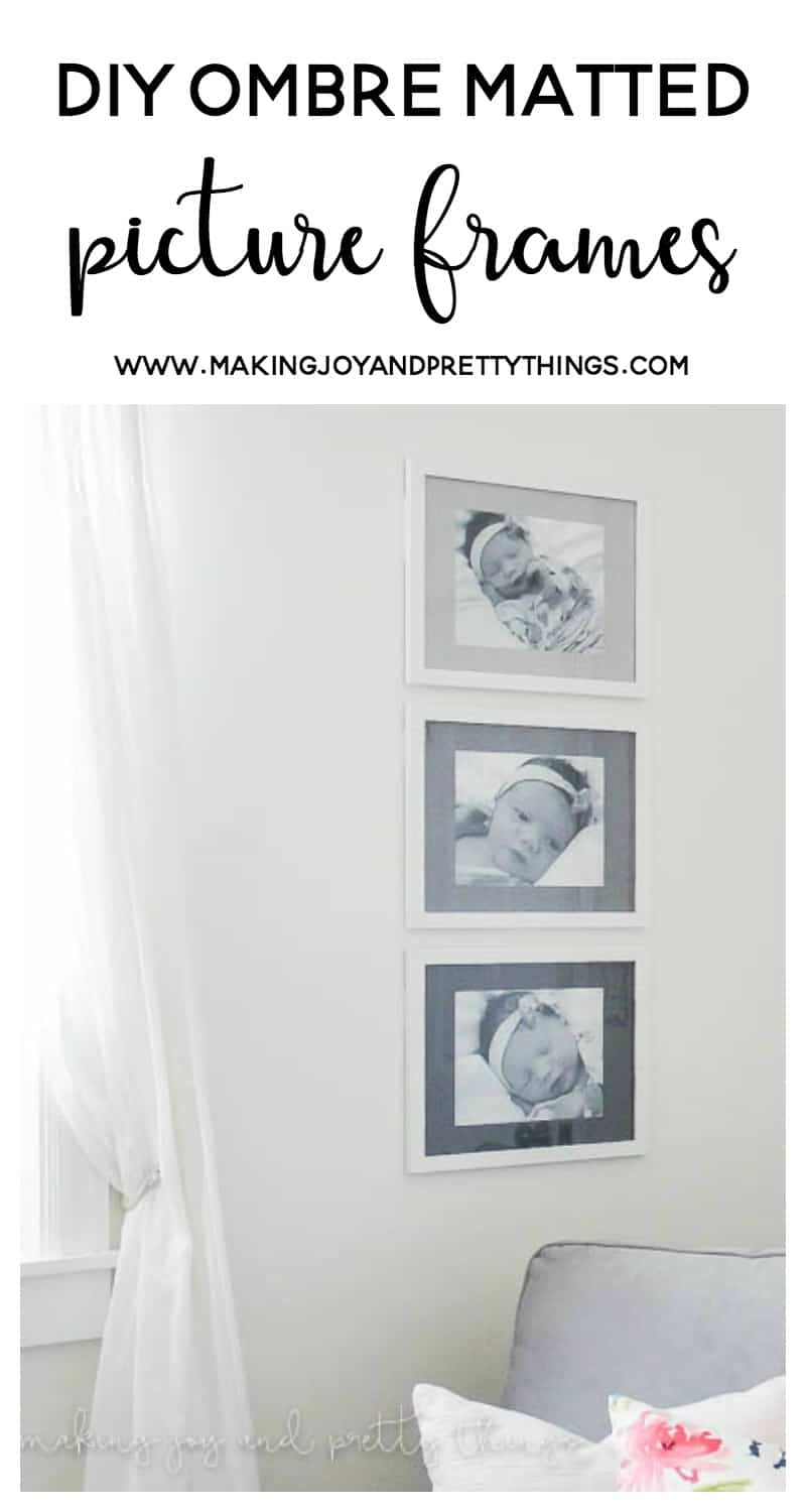 DIY Ombre Matted Picture Frames using plain inexpensive white frames from Amazon and chalk paint! Easy DIY project to hang your family photos!