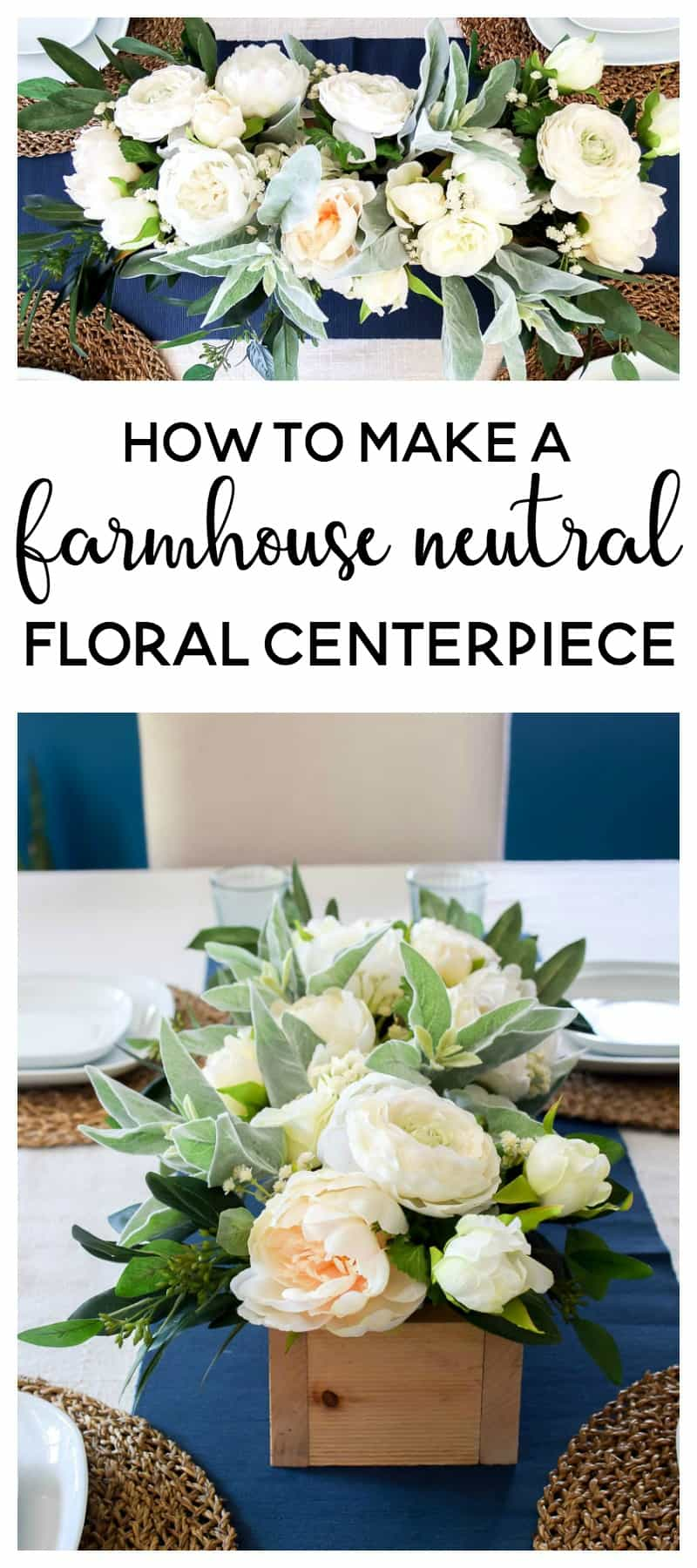 Farmhouse Neutral Floral Centerpiece DIY | See how I made a simple wooden box to use as a centerpiece and filled it to the brim with lovely green and neutral flowers. It's the perfect farmhouse neutral floral centerpiece that can be used in all seasons!