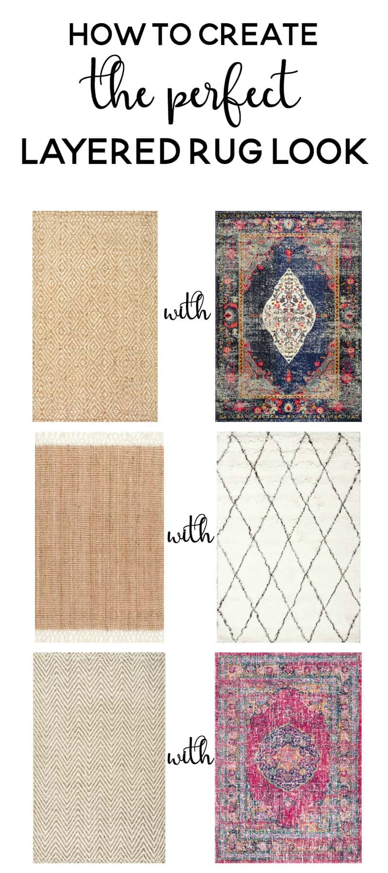 How to Create the Perfect Layered Rug Look. Tons of rugs and inspiration for which rugs to layer and how to pair rugs together. Goes with any design style and adds texture and style to any room