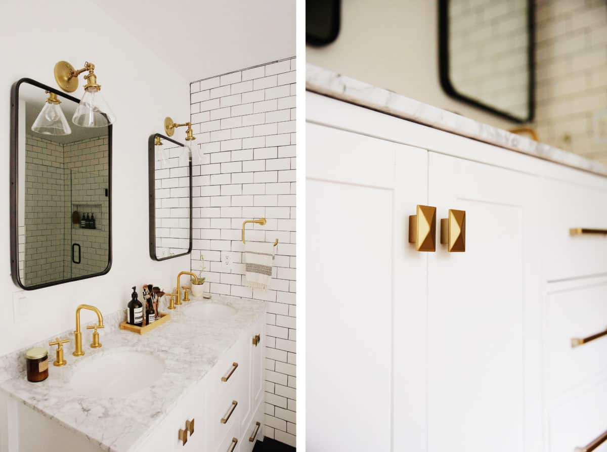 New Darlings Mixed Black And Brass In This Gorgeous Bathroom!