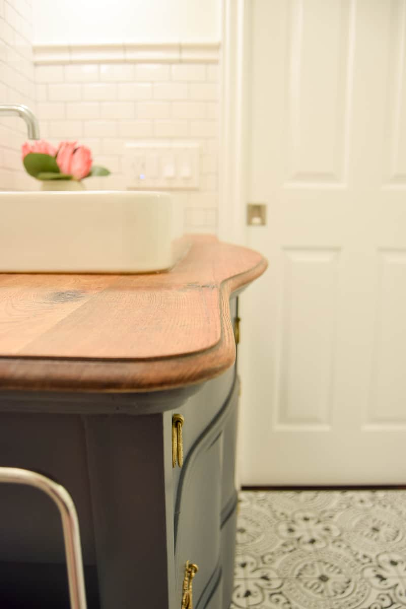 Sharing the full reveal for our modern vintage master bathroom full of vintage charm, a high end look, all while being budget friendly. modern vintage master bathroom design plan | bathroom ideas | bathroom remodel | bathroom decor | master bathroom remodel | renovating on a budget | modern vintage bathroom | bathroom design ideas | bathroom design small | attic bathroom | bathroom ideas