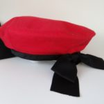 Chanel hat,red Chanel beret with black bow,red Chanel hat