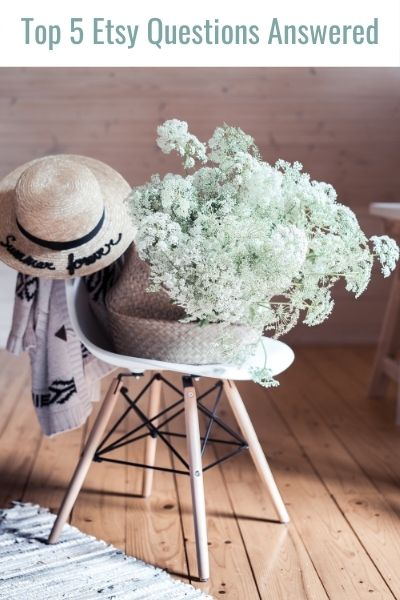 Vintage chair, plant and hat shown in photo