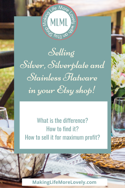 Selling Flatware on Etsy pinterest graphic