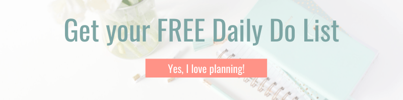 Graphic for daily do list showing planner notebooks and flowers with clickable link to subscribe