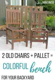 Colorful Upcycled Chair Bench Backyard - Making