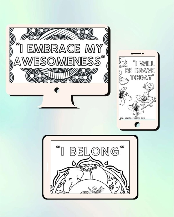 Confidence Creativity Mantra Coloring Booklet Mobile