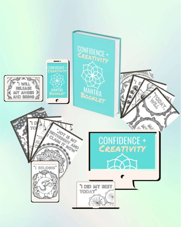 Confidence Creativity Mantra Coloring Booklet Mock Up