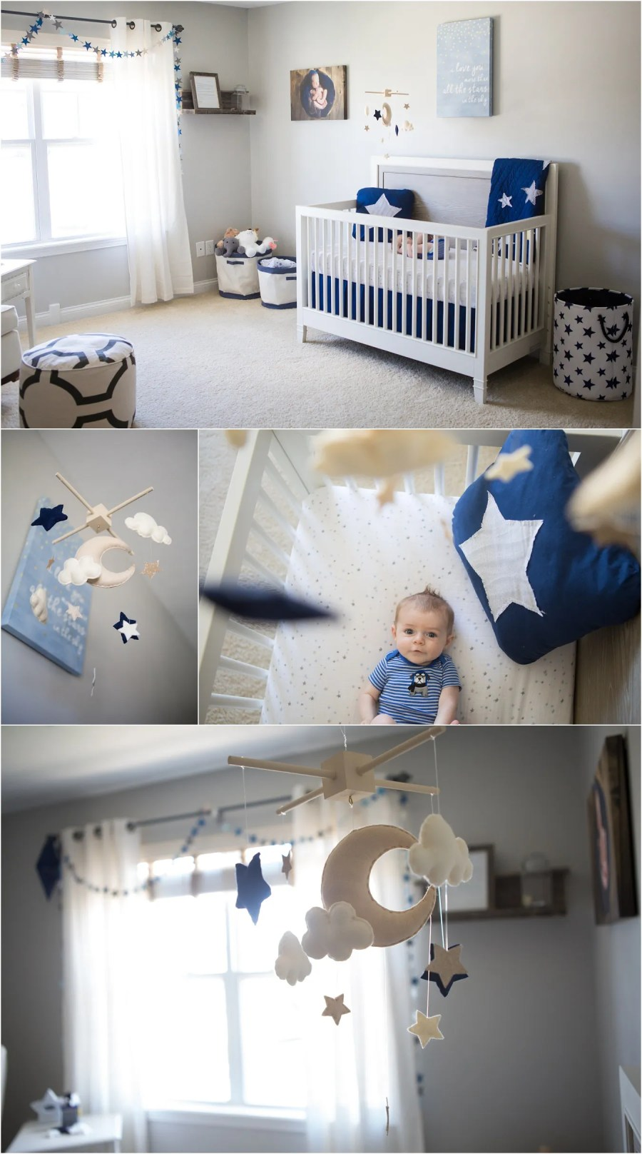 Star Amp Moon Themed Boy S Nursery Grey Navy Blue Gold