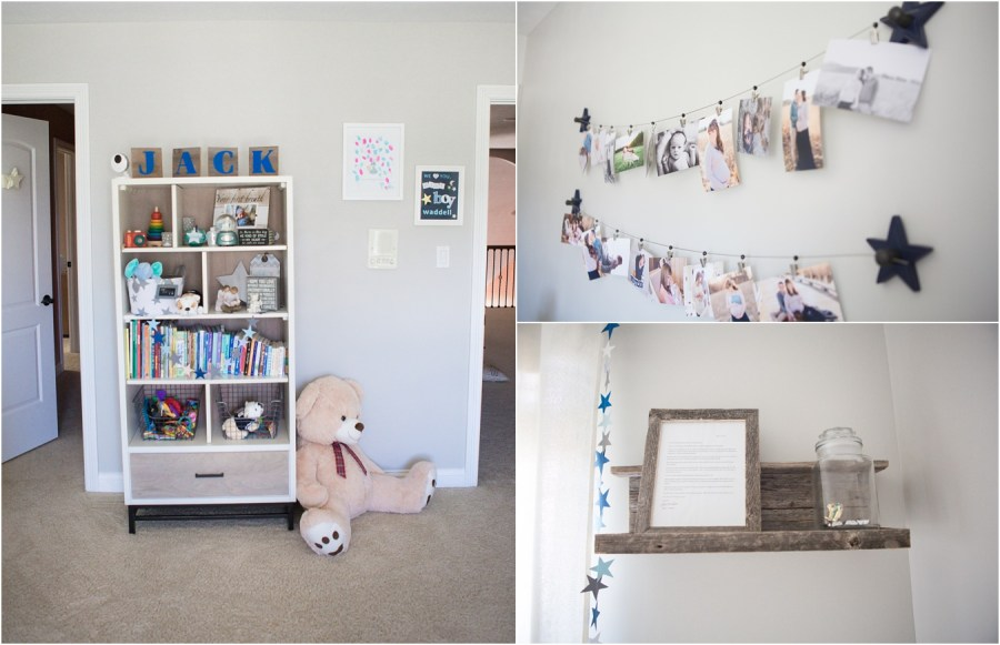 nursery book shelf and pictures - star and moon themed nursery
