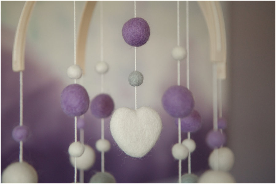 felt mobile above crib - purple hearts