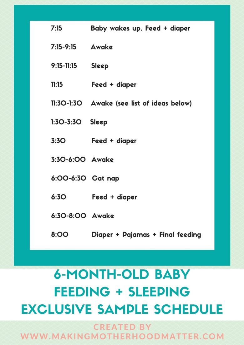 eating feeding sleeping schedule for 5-month-old baby