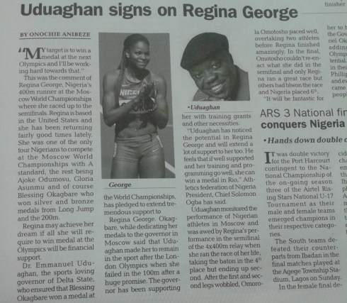 Uduaghan signs on Regina George