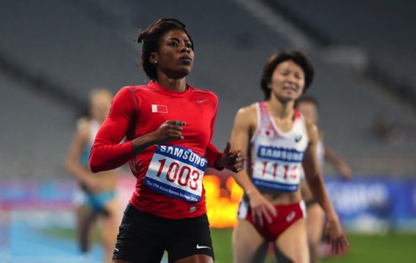 Kemi Adekoya winning the 400m Hurdles final for Bahrain at the 2014 Asian Games in 55.77s (Photo Credit: Chung Sung-Jun/Getty Images AsiaPac)