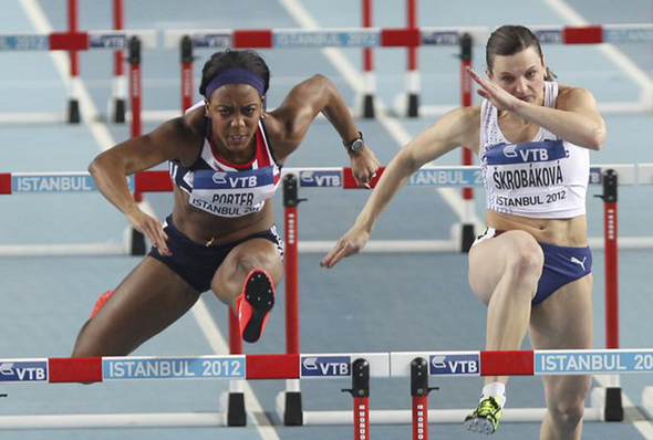 Tiffany Porter (Left) competes for Great Britain at the 2012 World Indoors in Turkey. (Photo Credit: AP)