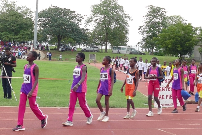 The young athletes filing out for an event.