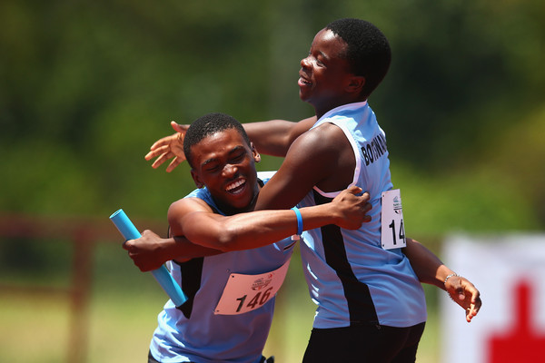 Botswana's 4x100m team celebrate their victory in Samoa. (Photo Credit: Getty Images)