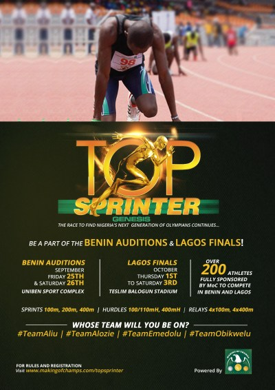 Top Sprinter Reality TV auditions in Benin and finals in Lagos