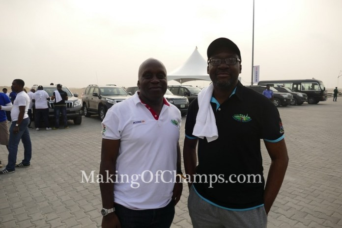 LOC Chairman and Special Assistant to the Lagos Governor on Sports, Deji Tinubu (L) and the Lagos State Commissioner for Information, Steve Ayorinde.