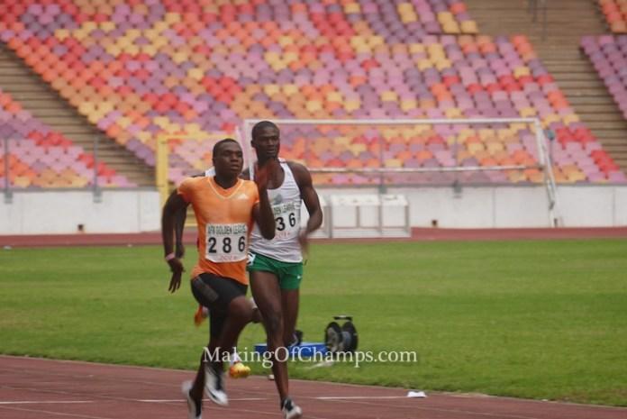 Divine Oduduru ran the fastest time overall in the men's 200m.