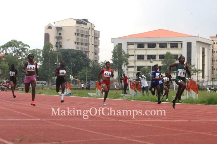 Ifunanya Moughalu races to victory in her 100m heat.