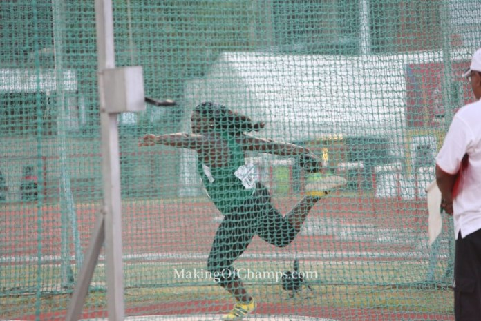 Chinwe Okoro while competing in the women's Discus