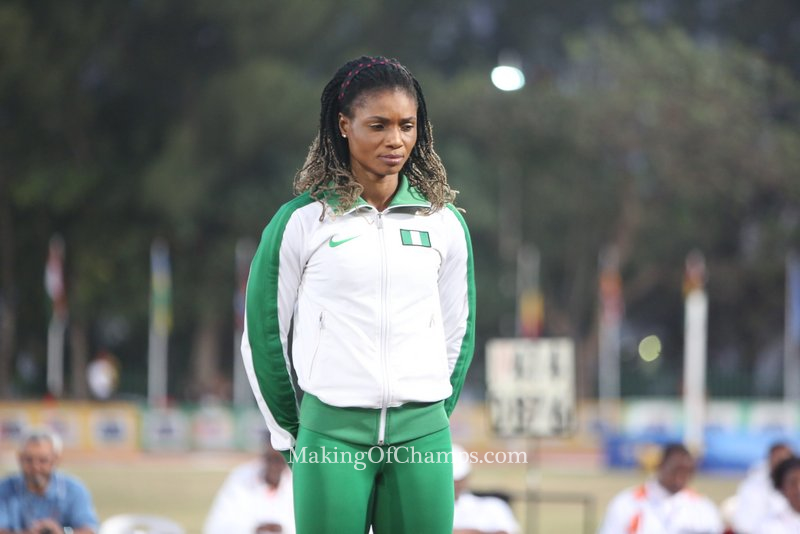 Patience Okon George doesn't look too happy about winning Bronze