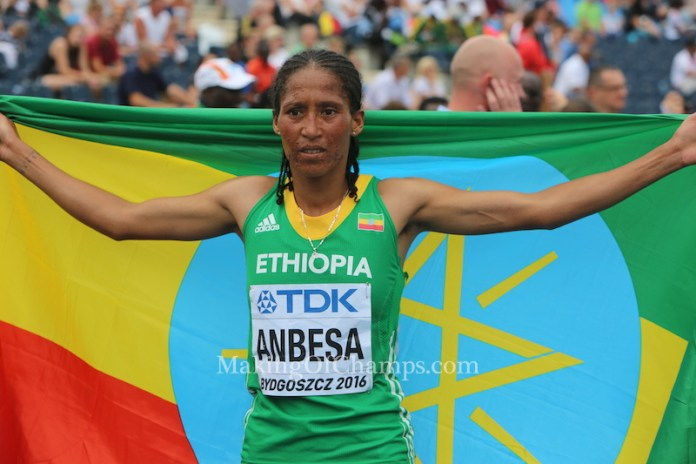 Ethiopia's Adanech Anbesa won GOLD in women's 1500m to take her country up to 3rd position on the medal table. Photo Credit: Making of Champion/PaV media