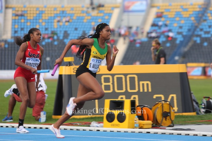 Winters who ran the 3rd leg for Team USA closed the gap on Jamaica to hand the baton to Watson who anchored the team to victory. Photo Credit: Making of Champions/ PaV media