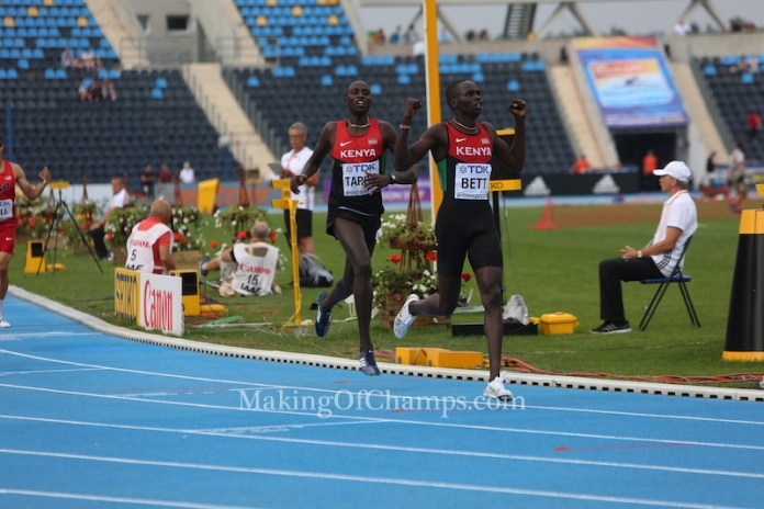 Kipyegon Bett celebrates winning the men's 800m. Photo Credit: Making of Champions/PaV Media