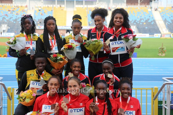 The top three finishers in women's 4x400m relay: Team USA, Team Jamaica & Team Canada. Photo Credit: Photo Credit: Making of Champions/ PaV media