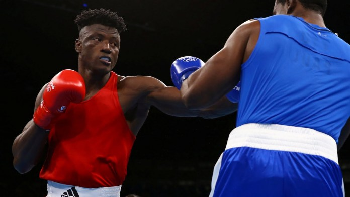 Efe Ajagba during his first against Nigel Paul of Trinidad & Tobago. Photo Credit: Olympic Games Rio 2016