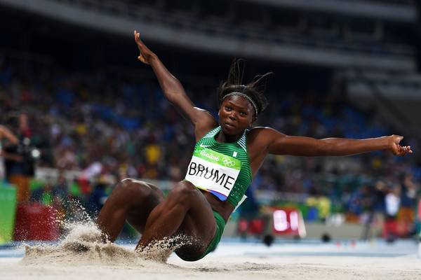 Ese Brume taking a leap into the sand in women's Long Jump at Rio 2016 Olympics. Photo Credit: Shaun Botterill, Getty Images