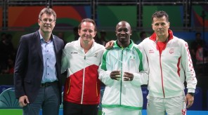 Photo caption: ITTF President, Thomas Weikert; Belgium's Jean-Michel Saive; inductee, Nigeria's Segun Toriola and Croatia's Zoran Primorac during the special award to Toriola as the first African to attend seven Olympic Games in Rio on Friday August 12, 2016. (Photo Credit: ITTF)