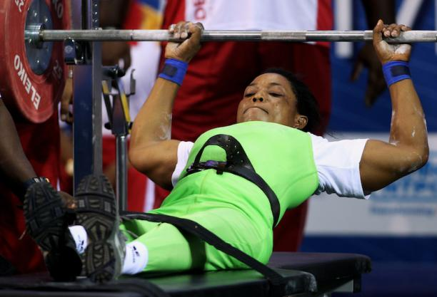 Esther Onyema in action for Team Nigeria. She won Silver in the women's -55kg Powerlifting event. Photo Credit: Getty images via m.paralympic.org